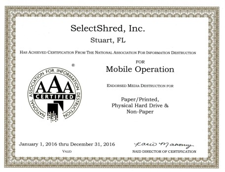 SelectShred NAID AAA Cert 2016