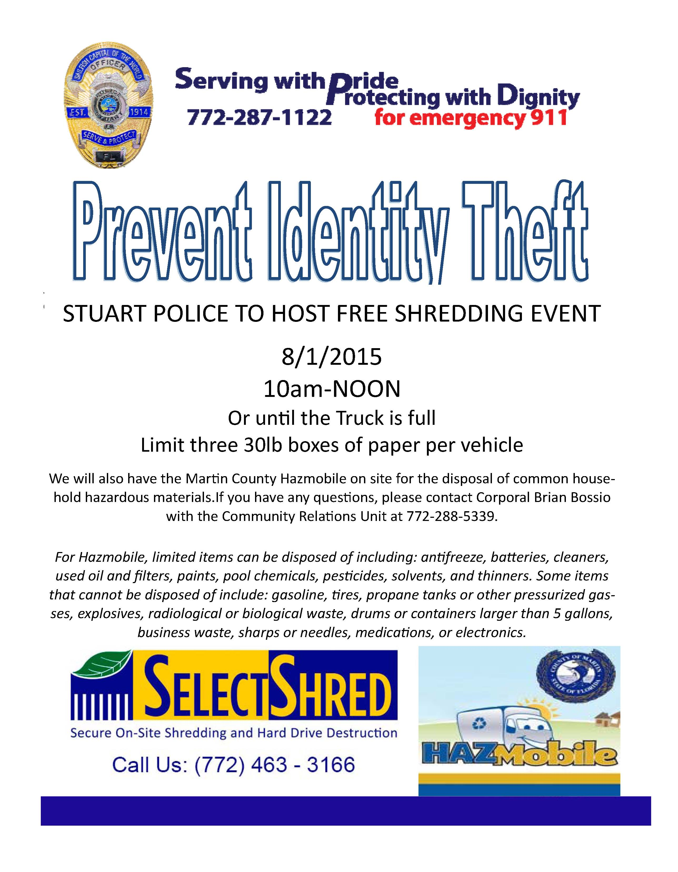 Selectshred secure document shredding and hard drive destruction august 1 2015 free shred event stuart florida 1betcityfo Image collections