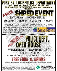 2015 Fraud Awareness Week Shred Event and PSLPD Open House
