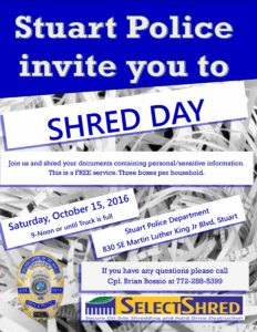 Stuart Police Department Shred Event October 2016